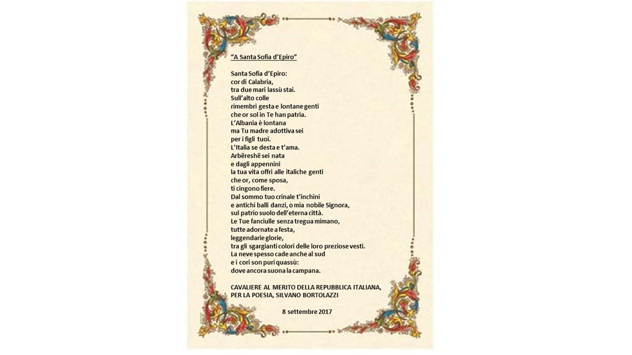 """""""Il Cavaliere al Merito della Repubblica Italiana, per la poesia, Silvano Bortolazzi dedica una lirica al comune di Santa Sofia d'Epiro"""""""