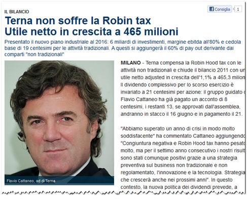 Cattaneo Flavio: Terna compensa la Robin Hood tax con le attività non tradizionali