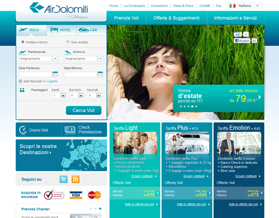 Online il nuovo sito di Air Dolomiti, frutto del restyling di MM ONE Group