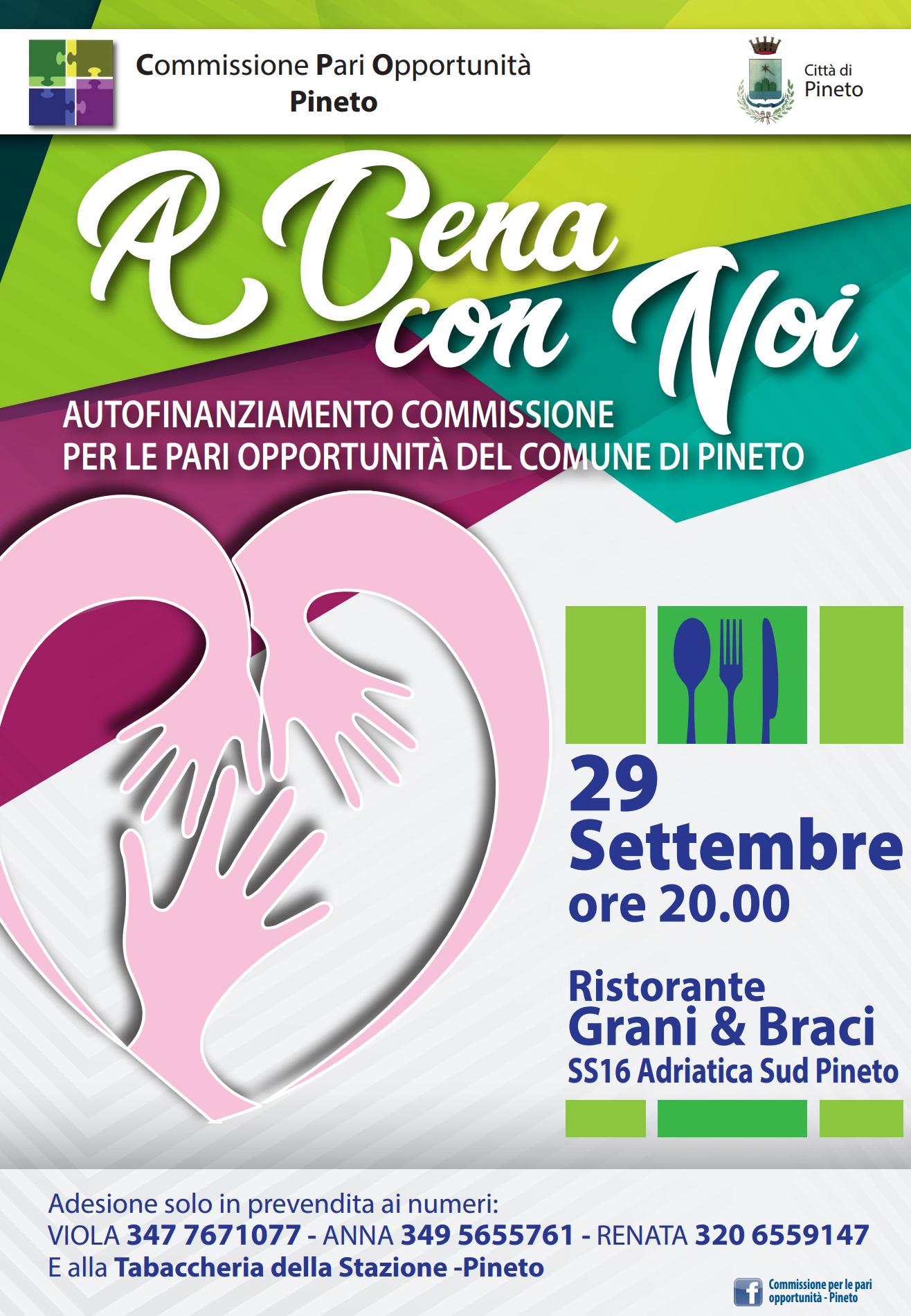 """""""A Cena con Noi"""": un evento della Commissione per le Pari Opportunità del Comune di Pineto"""