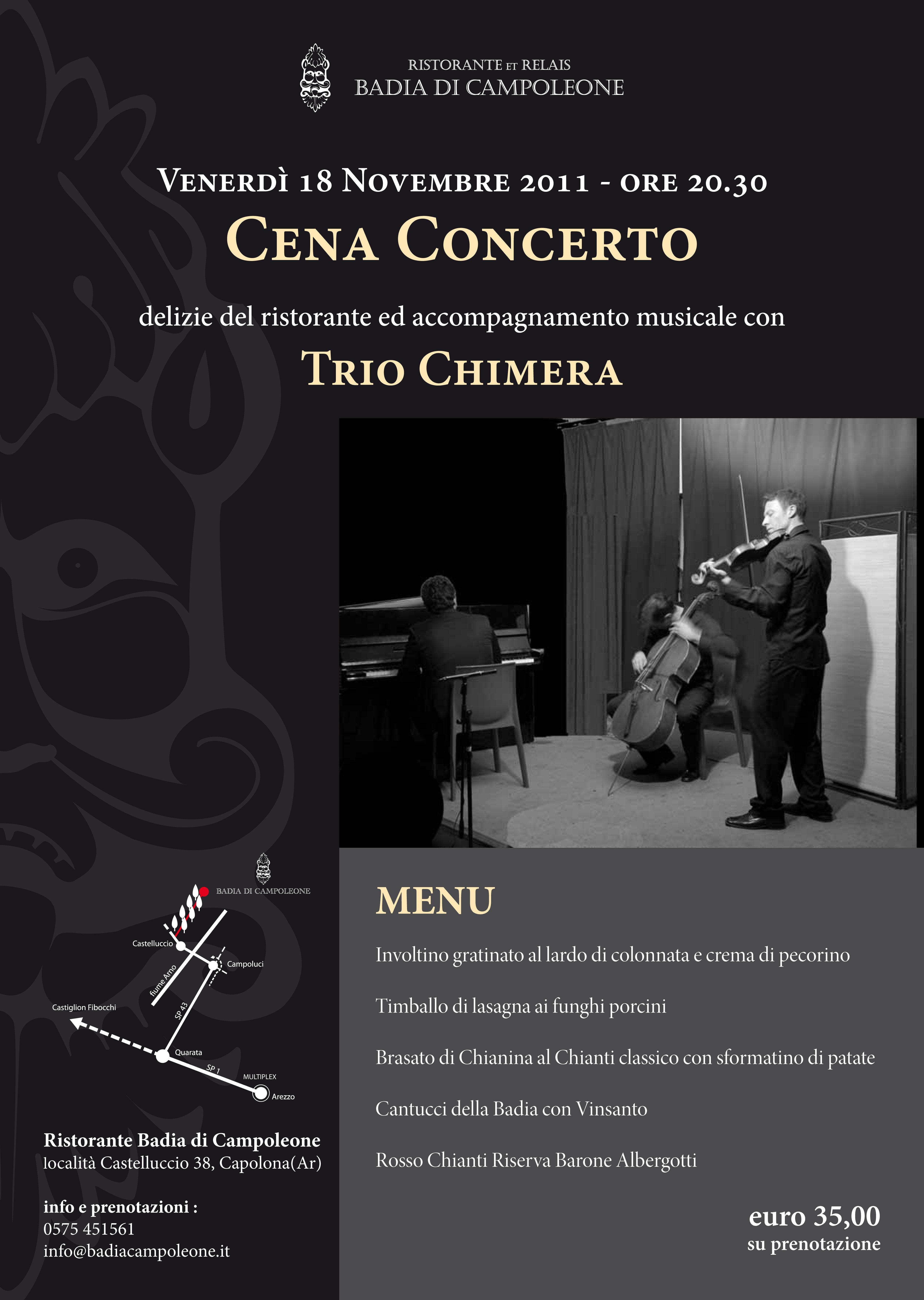 Il Ristorante Badia di Campoleone vi invita all'esclusiva Cena Concerto di Venerdì 18 Novembre 2011