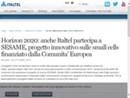 HORIZON 2020: ANCHE ITALTEL PARTECIPA A SESAME, PROGETTO INNOVATIVO SULLE SMALL CELLS FINANZIATO DALLA COMUNITA' EUROPEA
