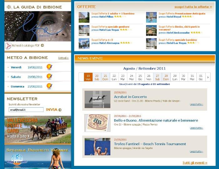 MM ONE Group rinnova le sezioni in home page di Bibione.eu