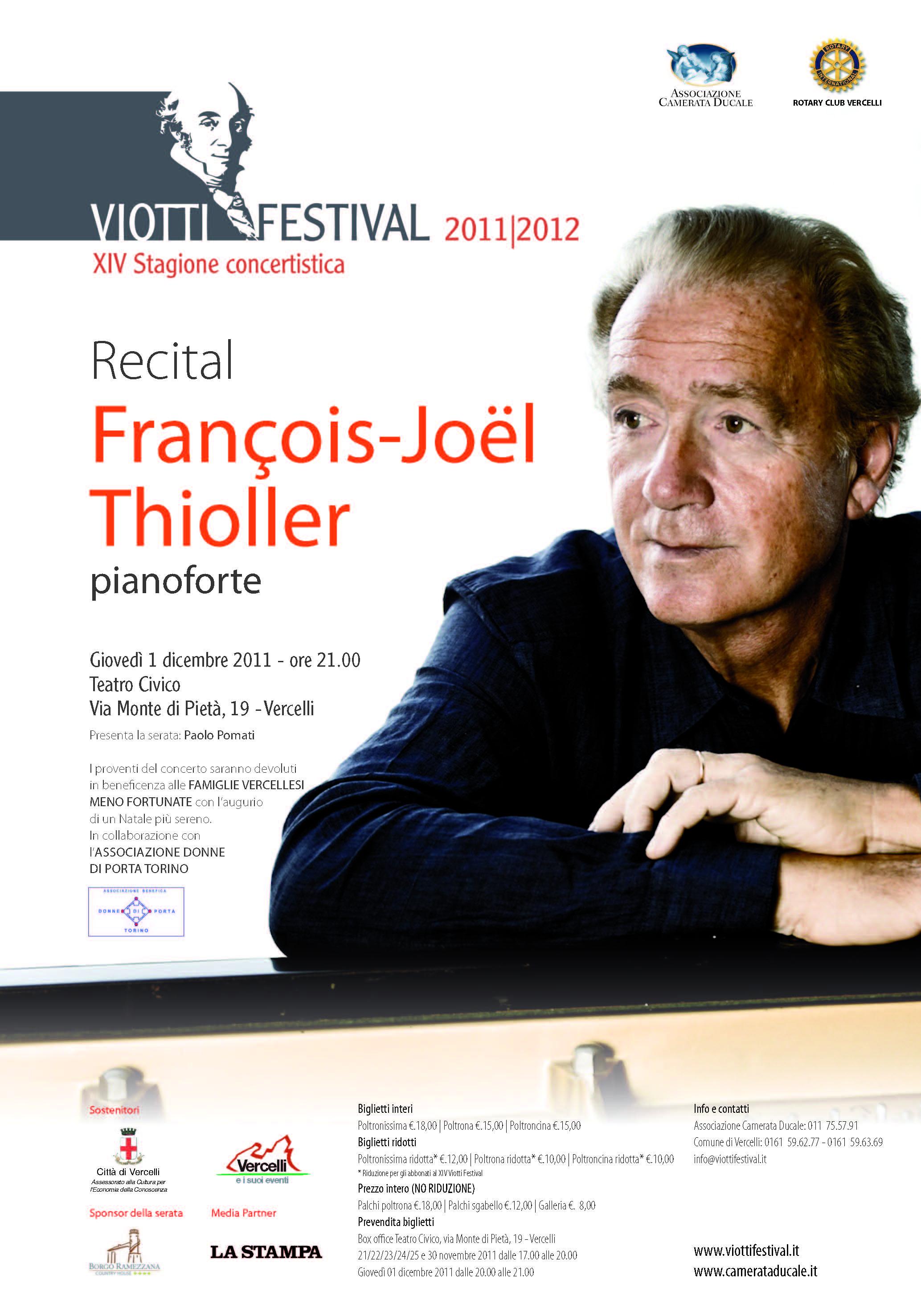 Solidarietà in musica al Viotti Festival di Vercelli con il Recital di François-Joël Thiollier