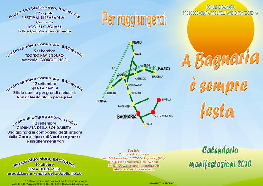 A Bagnaria è sempre festa: Calendario Manifestazioni 2010 del comune di Bagnaria
