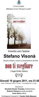 Stefano Visonà presenta NON TI SVEGLIARE, il legal thriller italiano