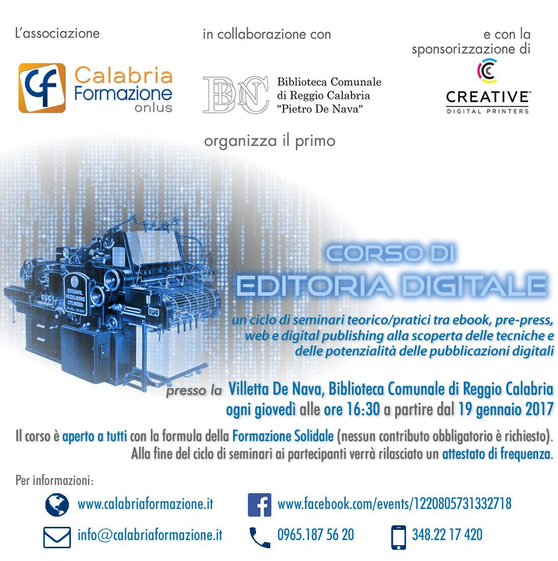 Reggio Calabria: Ecco il programma completo del Corso di Editoria Digitale di Calabria Formazione